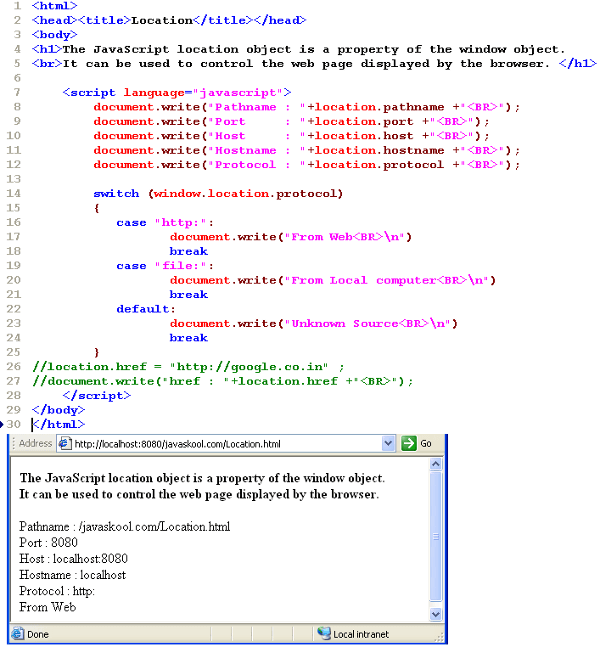 javaskool com - Javascript : Client Side Scripting :: Location Object